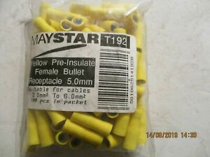 T192 x 100  Pre Insulated Yellow Female Receptacle 5mm Bullet Terminal