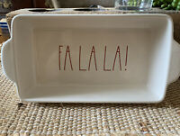 Rae Dunn Artisan Magenta FA LA LA Baking Dish Loaf Pan Red Christmas Holiday