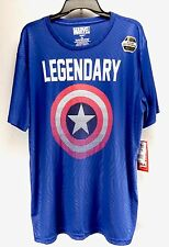 Captain America Mens Active Wear Tee Shirt Marvel Comics Legendary Blue Size 2X