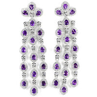 BIG DAZZLING NATURAL AAA PURPLE AMETHYST & WHITE CZ STERLING 925 SILVER EARRING