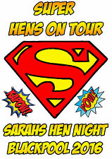 PERSONALISED hen party Iron on T Shirt heat Transfer diy SUPER HENS SUPERHERO