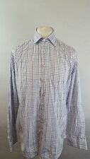 "MENS HACKETT MAYFAIR SHIRT SIZE 16.5"" COLLAR - BLUE BURGUNDY & WHITE CHECK"