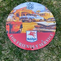 "VINTAGE Route 66 MOBILGAS 12"" PORCELAIN GASOLINE OIL PUMP GAS STATION AD SIGN!!"