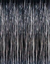 Pack of 10 Black (1m x 2m) Shimmer Foil Door Curtains for party Decorations