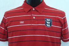 ABERCROMBIE & FITCH Short Sleeve Polo - Red with Navy/White Stripes - S