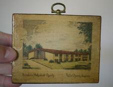 "Vintage 50s St. Lukes Methodist Church Falls Church Virginia Print on Wood 4.5"""
