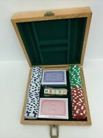 Game in Wood Box Five Dice Two Packs Playing Cards 100 Poker Chips New