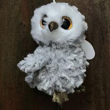 """TY Owl Owlette Grey Stuffed doll 6"""" in hand"""