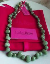 LOLA ROSE GREEN QUARTZITE GEM ADJUSTABLE SILK KNOT FASTENING NECKLACE QVC BNWT