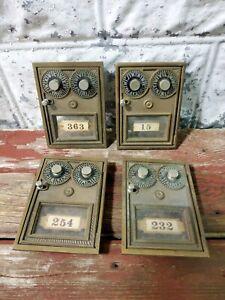 VINTAGE US CORBIN RARE DOUBLE DIAL POST OFFICE PO BOX BRONZE DOOR LOT OF 4