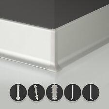 Sockelleisten Aluminium 2,5- 50 Meter SET Zubehör Alu Leiste Bodenleiste 3 Höhen