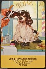 Butch the Dog Get Trim-Staehle-Jim & Howard Texaco, Oregon-VTG Swap Playing Card