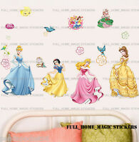 Disney Princess Cinderella Aurora Belle Wall Stickers Girls Bedroom Decor Decals