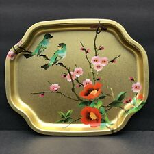 Vtg Elite Tin Snack Tray Painted Asian Birds Flowers on Gold Base England