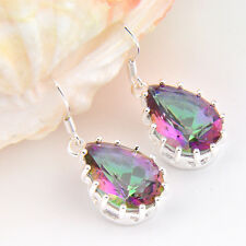Woman Teardrop Shaped Colored Mystic Topaz Gemstone Silver Dangle Hook Earrings