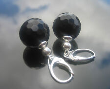 14 mm Handmade Round Onyx Black Faceted Beads Silver Beads 925 SILVER EARRINGS