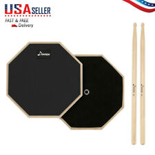 8 Inch Drum Practice Pad 2-Sided Drum Silencer Mute Training Drum Sticks USA