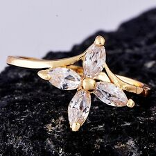 Womens 14K gold filled Clear Crystal Flower Cross Promise Band Ring Size 8