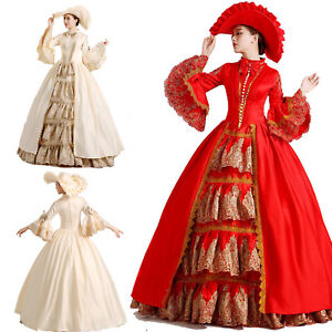 Vintage Women Medieval Marie Antoinette Rococo Victorian Cosplay Costume Dress