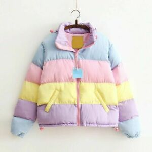Rainbow Pastel Jacket Kawaii Winter Autumn Removable Hoodie Zip Up Puffer Coat