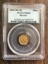 MEXICO 1902 MO M GOLD ONE PESO PCGS MS 64