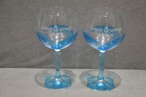 2x Bombay Sapphire Stir Creativity Balloon Gin Glass Bowl Goblet Blue Swirl New
