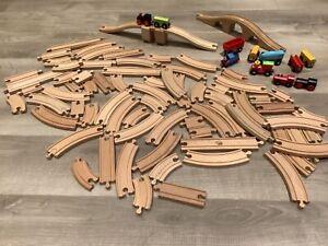 Large bundle wooden train track, trains and bridges: brio compatible