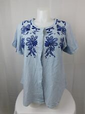 NY Collection Plus Size Button Down Embroidered Top 3X Blue Stripe #5313