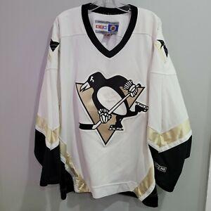 VTG CCM Authentic NHL Pittsburgh Penguins White Hockey Jersey Mens 2XL Sewn