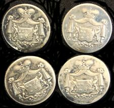 Set 4 Antique/Victorian G Cie Paris French Metal Coat of Arms Coat Buttons Lion