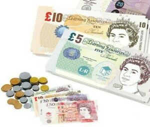 Kids Fake Pretend Money Childrens Role Play Cash Pound £ Notes Coins Shop Toy