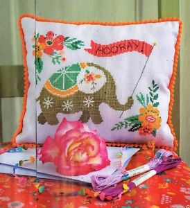 BRIGHTLY COLOURED FLORAL ELEPHANT SAMPLER 'HOORAY' CROSS STITCH CHART