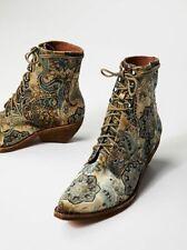 Jeffrey Campbell Free People Elmcroft Grove Lace Up Paisley Velvet Boots Sz 11