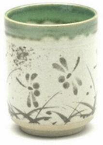 "Japanese Mug 3-5/8""H Yunomi Tea Cup Ceramic Oribe TOMBO Dragonfly/ Made in Japan"