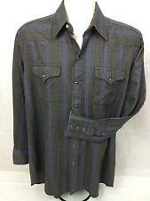 Panhandle Slim Long Sleeve Pearl Snap Shirt, Mens 16-1/2 34 Purple/Gray VGUC!