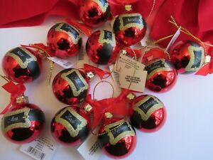 Personalized Red Round Christmas Ball Glass Ornaments Lot 12 NWT