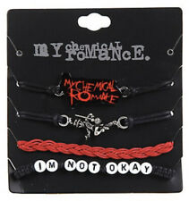 My Chemical Romance 4 Cord Adjustable Bracelet Set Black Parade I'm Not Ok