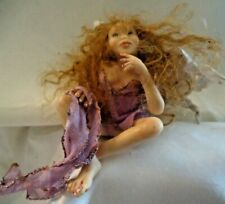 Small Red-Haired Nymph/Troll? Legs Crossed Shelf Sitter, Horns & Wings ~ Fs