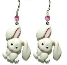 CUTE PINK & WHITE EASTER BUNNY DANGLE EARRINGS (H066)