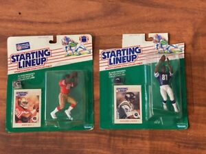 (2) 1988 NFL Starting Lineup football figures in Packages - Jerry Rice & Carter