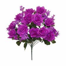"24"" Roses Hydrangea Purple Silk Wedding Flowers Bush Bridal Centerpieces Decor"