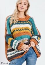 PLUS SIZE Womens HANDMADE MULTI COLORED OVERSIZED CABLE KNIT SWEATER 1X 2X 3X