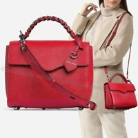 NWT $298🍅Rebecca Minkoff Chain Satchel Leather Shoulder Bag Tomato (Red) Silver
