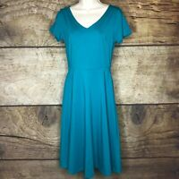 Luouse Womens Size Medium Short Sleeve Blue A Line Flare Dress New Long Maxi