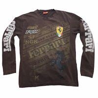 Men's Puma Ferrari Racing Sponsors Long Sleeve Brown Double Sided T Shirt Size M