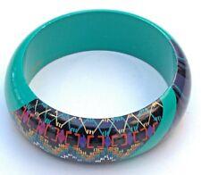 "Vintage ATC signed Painted Wood Bangle Bracelet - teal multi-colored.  1"" wide"
