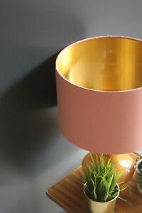 Lampshade, Soft Coral Cotton with Brushed Gold Lining