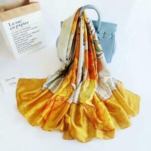 Long Silk Women Scarf, Sunflower Print Summer Silky Feel Head Wrap Shawl Scarves