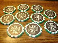 10 Ten Las Vegas CHOPPERS Nevada USA Poker Chip Golf Ball Marker-Card Guard Grn