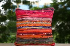 Hand Loomed Rag Rug Cushion Cover Recycled Fabric Throw Sofa Pillow Case 2 Pcs